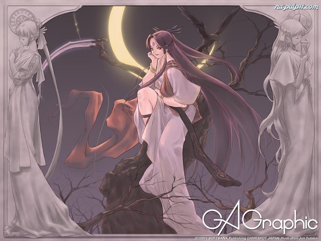 księżyc, kobieta, Ga Graphic, drzewa